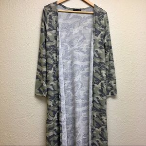 Annabelle long camouflage duster cardigan